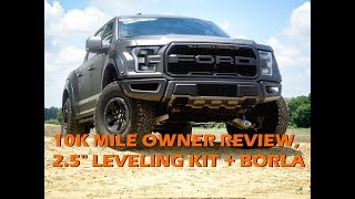"2018 Ford Raptor 10k Mile Owner Review + 2.5"" Leveling Kit +  Borla ATAK Exhaust Review"