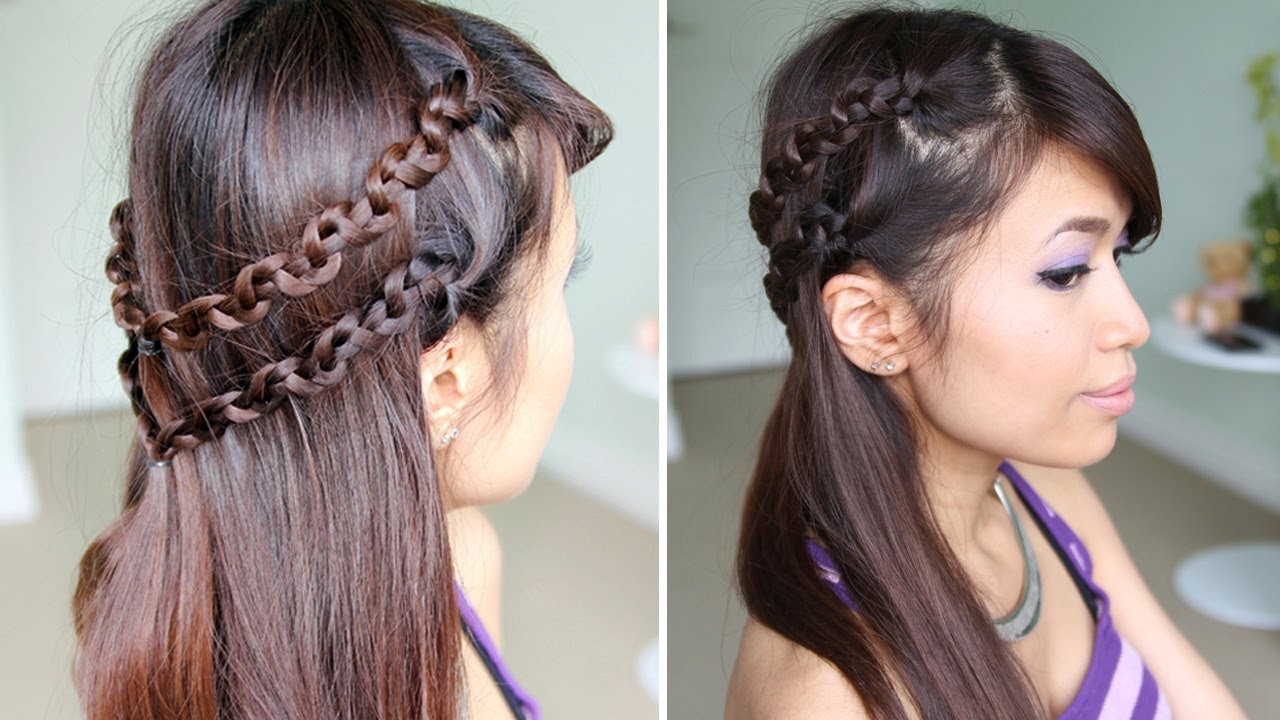 Long Hairstyles With Braids How To Snake Braid Headband Hairstyle For Medium Long Hair