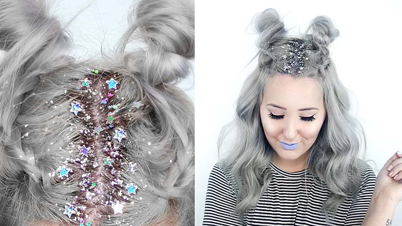 star glitter roots hairstyle