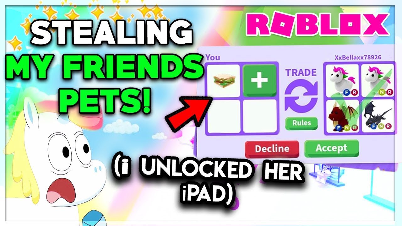Roblox Trading On Ipad I Stole Her Neon Pets She Forgot Her Ipad At My House Adopt Me Youtube