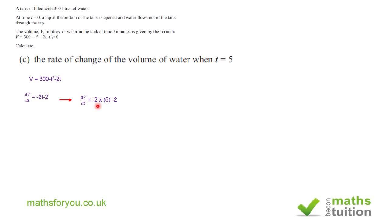 Quadratic expression ,Rate of flow, quadratic formula