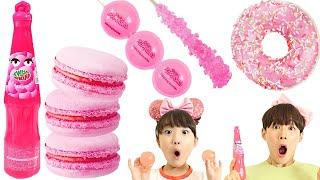 핑크 음식 간식 먹방 Pink Food Mukbang 같이 먹어봐요!!! - 슈슈토이 Shushu ToysReview