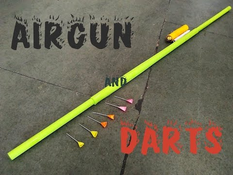 How to make a paper Blowgun & Darts or Airgun - Easy Tutorial
