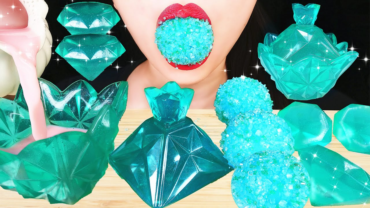 ASMR TEAL FOODS: EDIBLE JEWELRY BOX (JELLO), EARTH GUMMY CANDY, DIAMONDS JELLY EATING SOUNDS MUKBANG