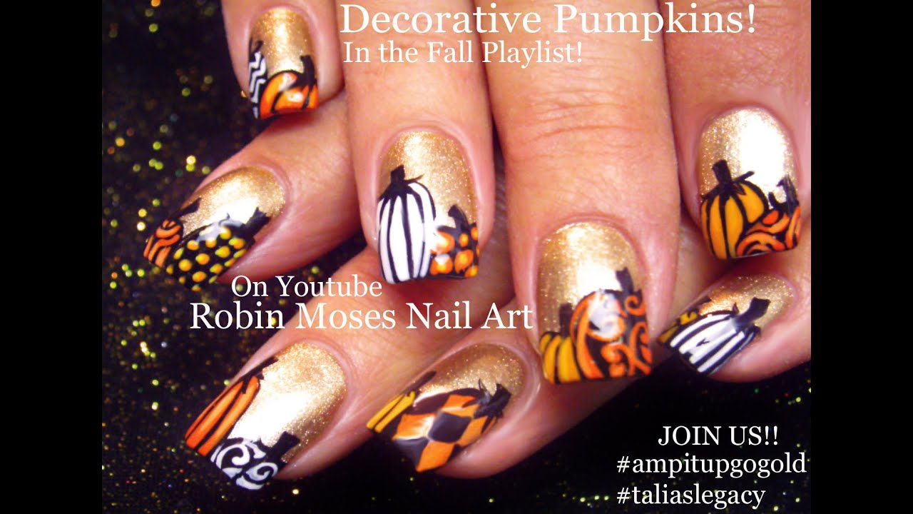 FALL Nail Art | Gold Nails with Pumpkins Nail Design Tutorial | Go ...