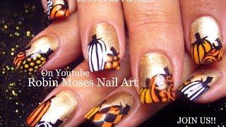 FALL Nail Art   Gold Nails with Pumpkins Nail Design Tutorial   Go Gold!