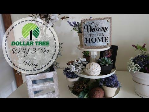 FARMHOUSE DECOR DIY | DOLLAR TREE DIY | 3 TIER TRAY | DECORATE WITH ME | DOLLAR TREE DECOR