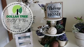 FARMHOUSE DECOR DIY | DOLLAR TREE DIY | 3 TIER TRAY | DECORATE WITH ME | DOLLAR TREE DECOR