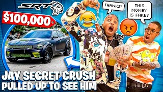 JAY SECRET CRUSH PULLED UP TO SEE HIM & I BOUGHT A YOUTUBER HELLCAT FOR $100,000!