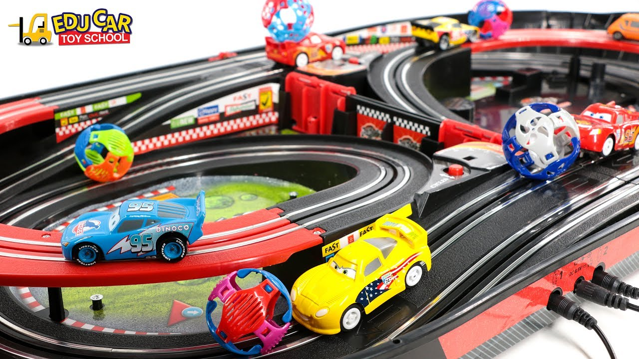 learning color special disney pixar cars lightning mcqueen mack truck race track for kids car toys