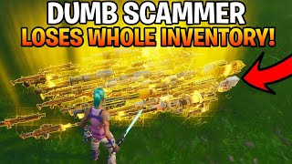 Dumb Scammer Gets Scammed For Whole Inventory! (Fortnite Save The World)