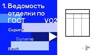 Видео 5. Формирование ведомости отделки помещений по ГОСТ_VER02 (Revit+Dynamo)
