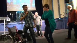 8 yrs in wheelchair due to degenerative spine & suspected MS walks pain free - John Mellor Miracles