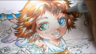 Final Fantasy X : Drawing of Yuna  lineart & coloring