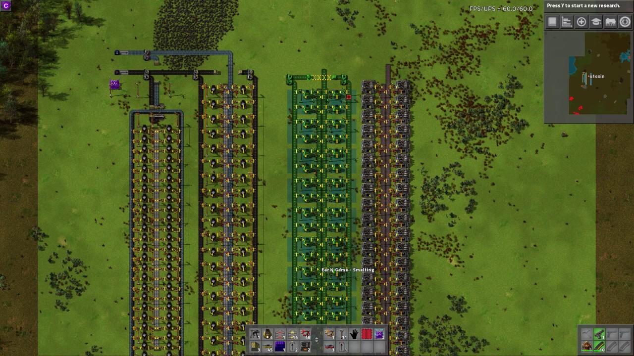 Factorio 0 15 - Upgrade-able Early Game Smelter Tutorial