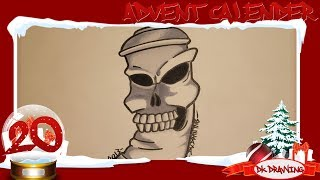 Graffiti Advent Calender #20 - How to draw a skull spraycan