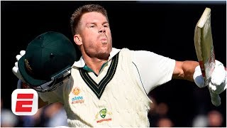 David Warner reacts to his record-breaking 335* for Australia at the Adelaide Oval | Cricket