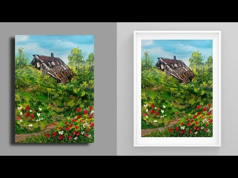 painting grass - acrylic painting - red poppy - landscape tutorial - illustration - home decor thumbnail