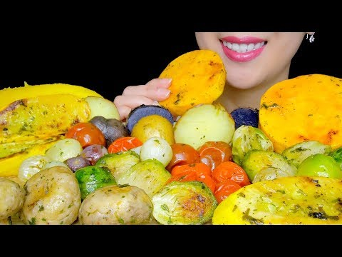 ROASTED VEGGIES PLATTER ASMR with *RECIPE* (PEARL ONIONS, BRUSSELS SPROUTS, POTATOES) |TracyN ASMR