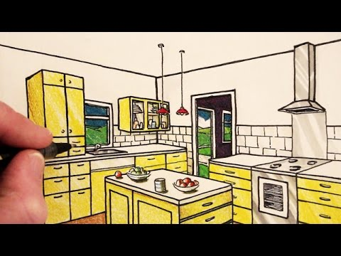 How To Draw A Kitchen Room In 2 Point Perspective Narrated Youtube