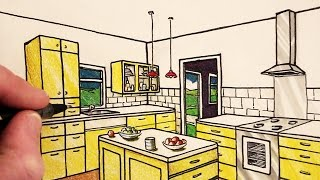 How to Draw a Kitchen Room in 2-Point Perspective: NARRATED