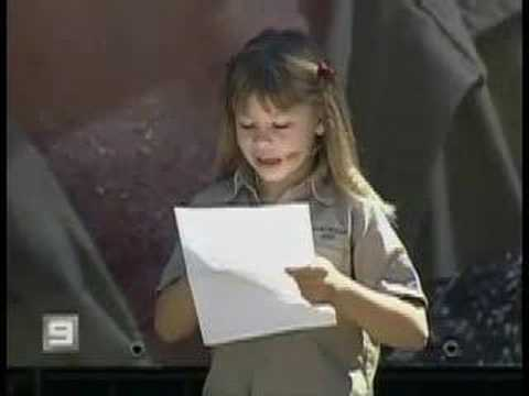 Bindi's Special Speech for Daddy, Steve Irwin.