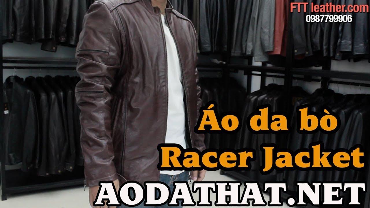 Áo da Racer, áo da racer dành cho nam, áo da bò màu nâu đỏ