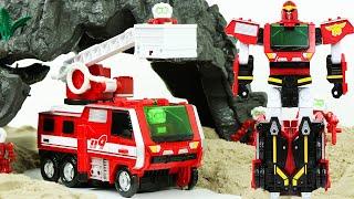 헬로카봇 파이언트 소방차 로봇 장난감 대왕공룡과 배틀 …