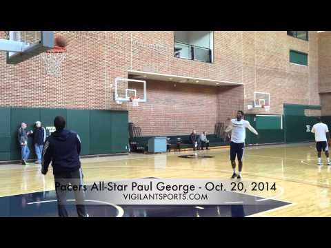 Paul George shoots after practice (Oct. 20)