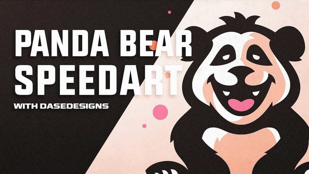 panda bear cartoon logo adobe illustrator graphic design speedart dasedesigns
