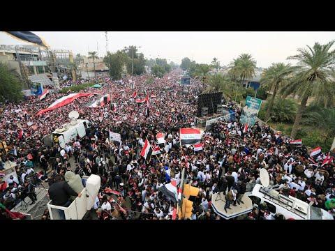-كلا كلا أمريكا- شعارات المتظاهرين في شوارع بغداد استجابة لدعوة الصدر  - 16:01-2020 / 1 / 24