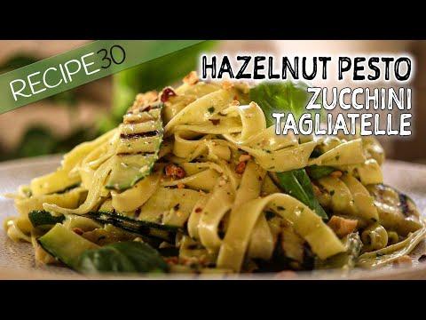 Hazelnut basil pesto Pasta with Charred Zucchini