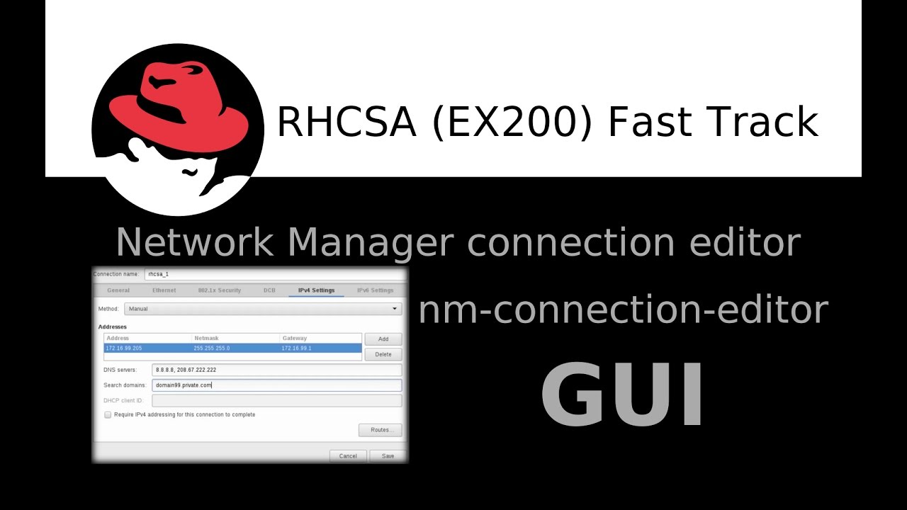 Setting up network using a NetworkManager connection editor