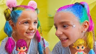 Las Ratitas y PinyPon se pintan con purpurina - Pretend play makeup and paint with glitter!!