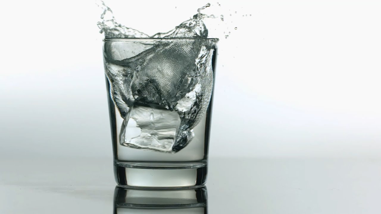 Water Falling Live Wallpaper Download Free Slow Motion Footage Ice Cubes Into Glass Of Water