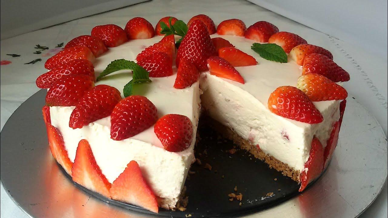 Tarta de fresas con nata sin horno youtube for Como decorar una torta facil y rapido