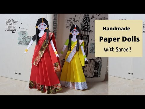 DIY Handmade Paper Doll in Saree Craft  Project  by  Aloha Crafts (Very Easy!!!!! )