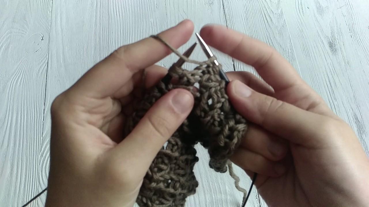 вязание спицами узоры схемы колосок из вытянутых петель Prakard