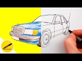How to Draw a Car - Mercedes Benz 190 (W201)  - step by step ?
