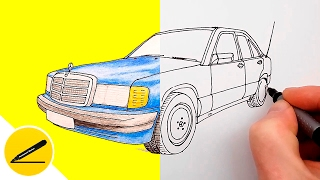How to Draw a Car - Mercedes Benz 190 (W201)  - step by step ★