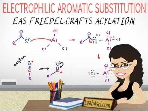 Friedel-Crafts Acylation Reaction Mechanism EAS Vid 7 by Leah4sci