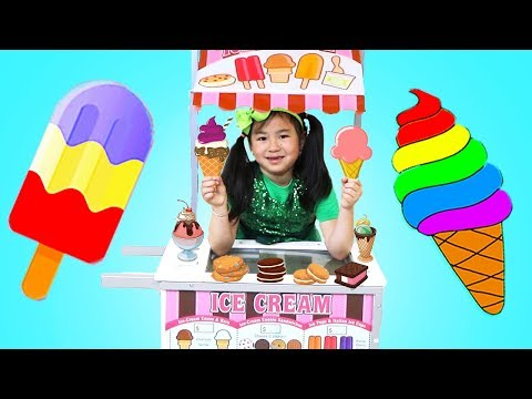 Jannie Pretend Play Kid Ice Cream Cart Selling Popsicles & Sweets