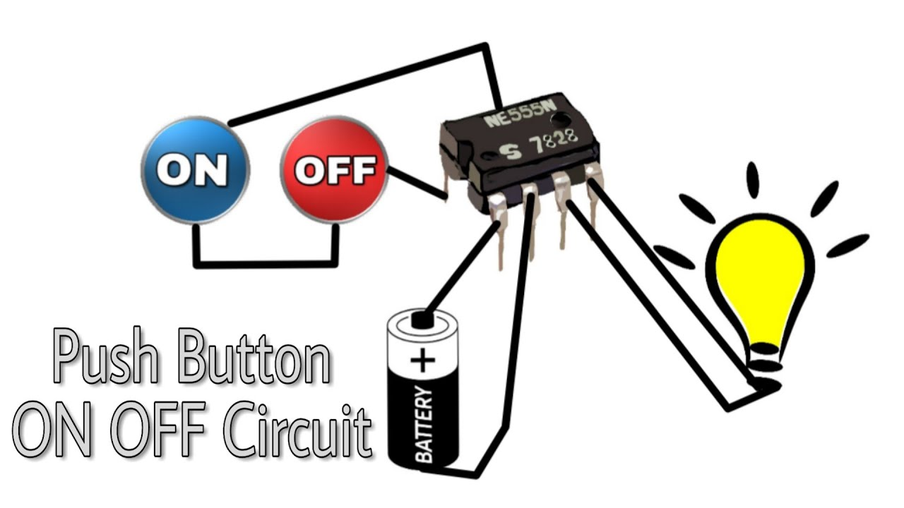 On Off Bulb Using 2 Push Switch Circuit Diagram 555 Timer Simple Ic Door Bell Image