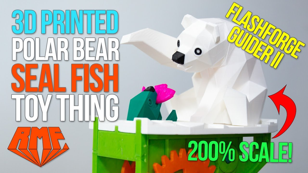 Flashforge Guider II - 200% Scale 3D Printed Polar Bear with Seal Toy