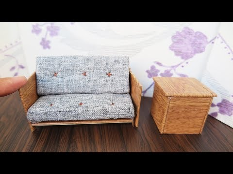 How To Make Dollhouse Sofa  -  DIY Miniature Furniture /  Easy Crafts