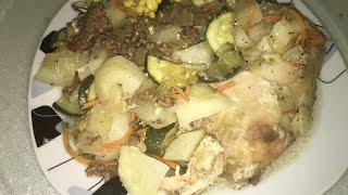 Рецепт Курица с кабачками и картошкой   цукини  в духовке. Очень вкусно