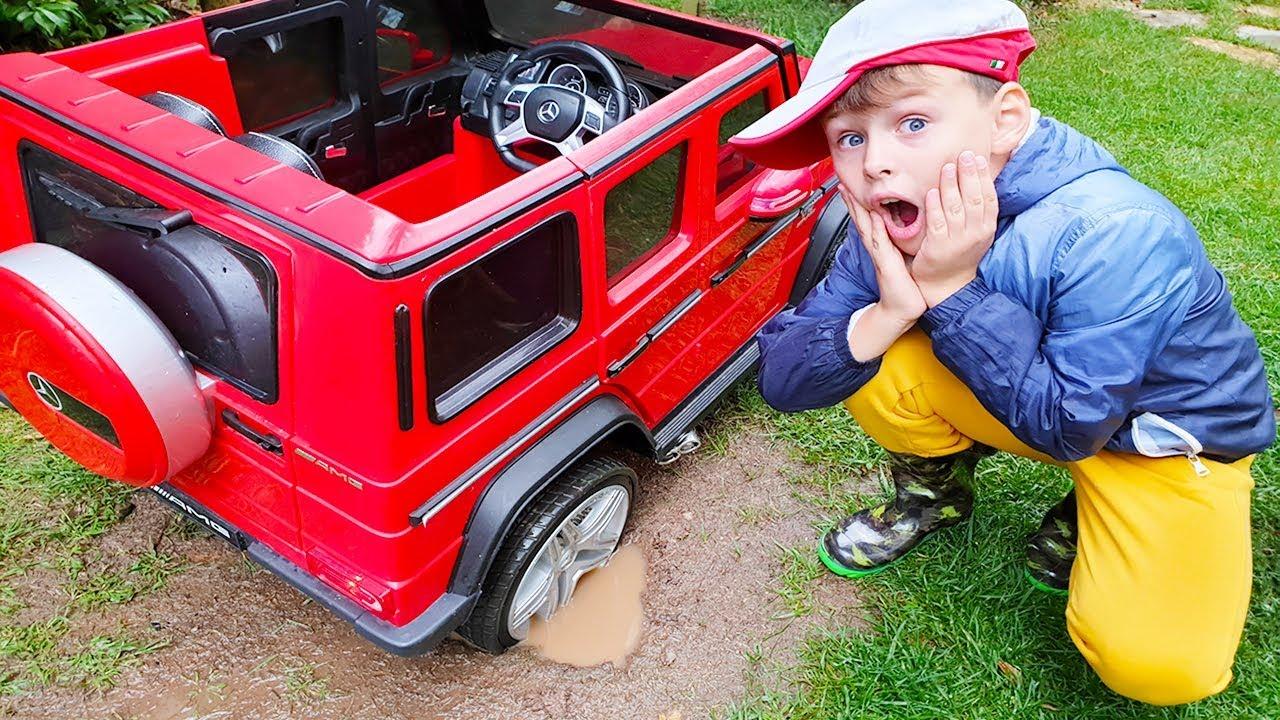 ALİNİN ARABASI ÇAMURA BATTI Kid Ride on Power Wheels Toy Car STUCK in the MUD