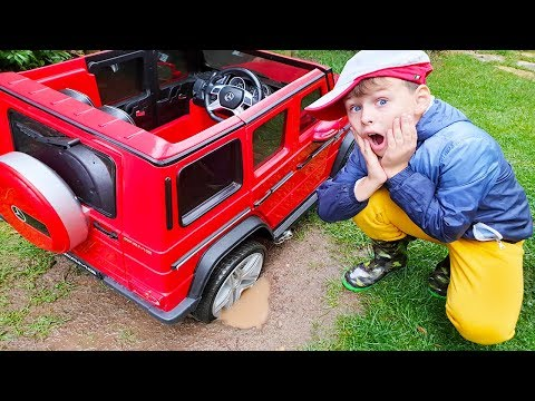 AL陌N陌N ARABASI 脟AMURA BATTI Kid Ride on Power Wheels Toy Car STUCK in the MUD