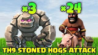 TH9 Stoned Hog Riders War Attack Strategy | Clash of Clans