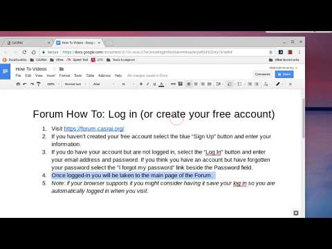 CASRAI Forum How To: Log In or Create Account